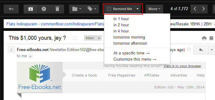 reminder email in gmail