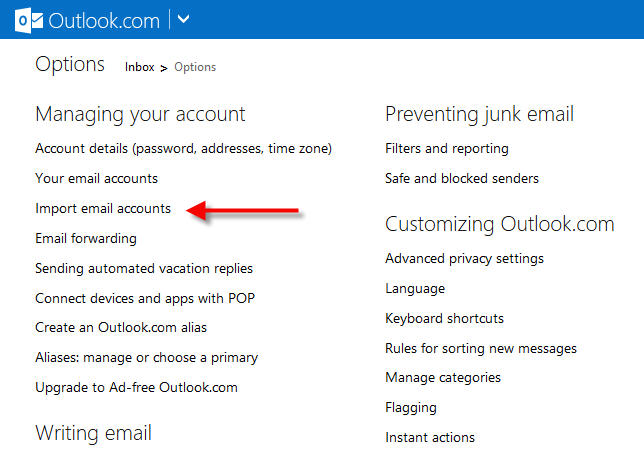 import gmail account to outlook