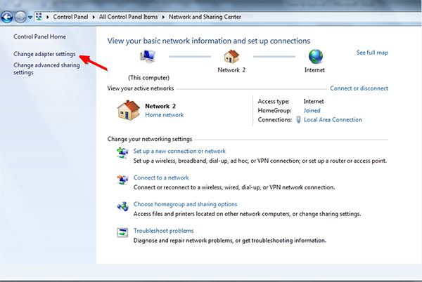 enable Wi-fi by using control panel