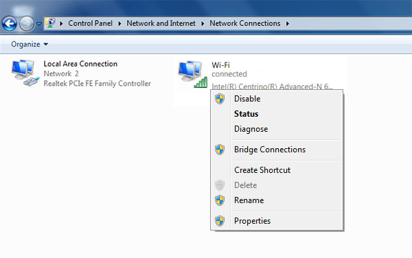 Wi-fi connection disable
