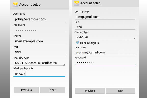 configure email on android mobile