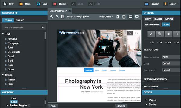 bootstrap studio rapid responsive webpage design tool