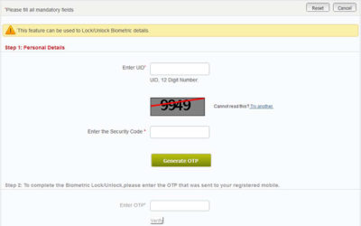 lock biometric aadhaar card