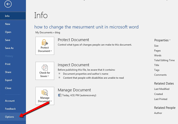 How To Change The Measurement Unit In Microsoft Word 2016