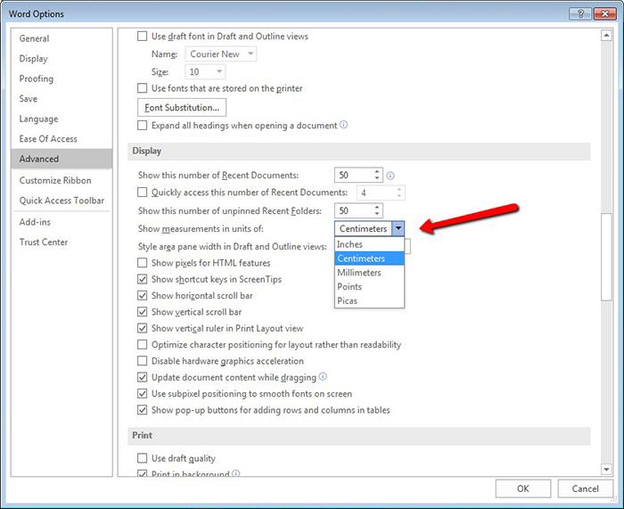 Microsoft Word Change Units Of Measurement