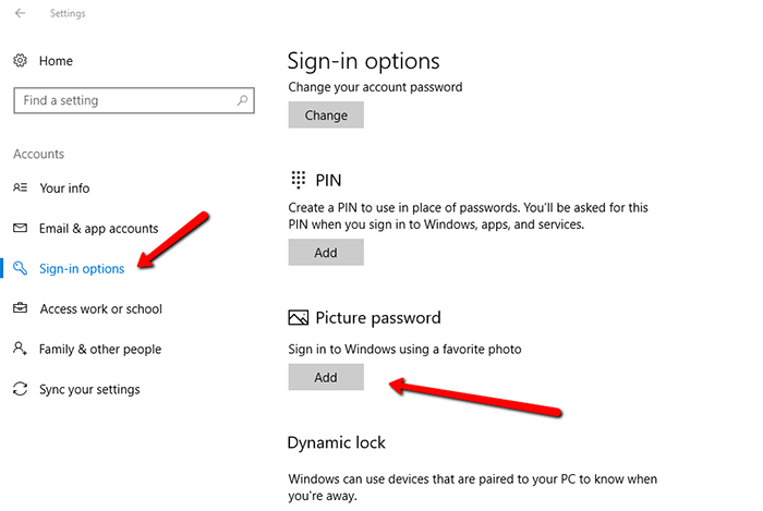 set picture password on Windows 10