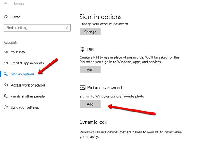 set picture password on Windows 10