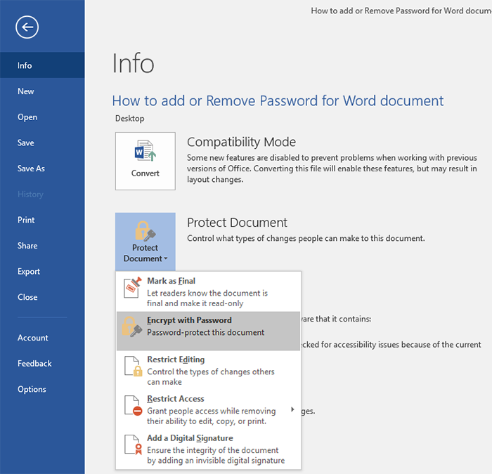 how to put a password on a word document