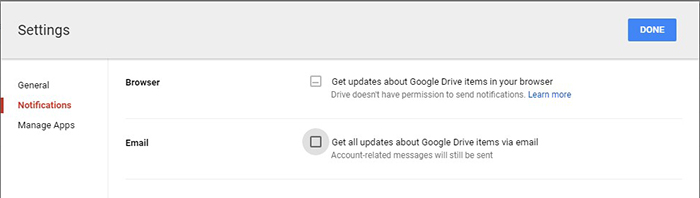 google-drive-Notification settings