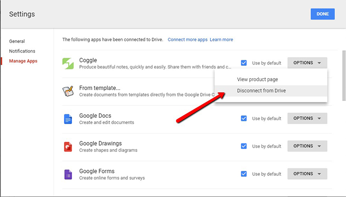 google-drive-manage apps settings